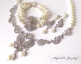 bridal jewelry set, vintage wedding jewelry set, pearl bridal jewelry, rhinestone wedding jewelry, statement bridal necklace & earrings