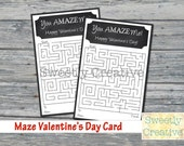 Maze Valentine's Day Card Printable - Chalkboard Inspired- INSTANT DOWNLOAD - Printable Digital Files