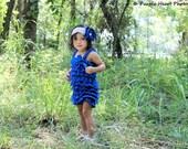 Petti Romper - Lace Romper - Royal Blue Romper - Girls Romper - Baby Romper - Ruffle Romper - Lace Dress - Baby Outfit