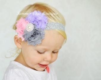Baby Headband, Infant Headband, Newborn Headband - Vintage Shabby Chic Headband Pastels Pink, Gray and Lavender Rosettes on Lace