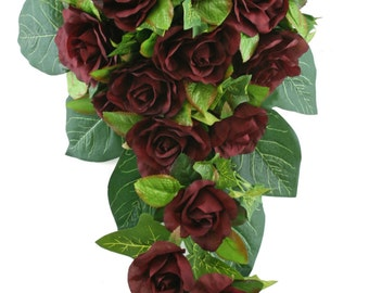 Burgundy Silk Rose Cascade - Silk Bridal Wedding Bouquet