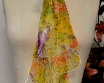 100% Double Layered Silk scarf in exotic prints