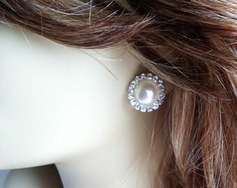 pearl bridesmaid earring, SALE,Pearl rhinestone earring, bridesmaid gift, Art deco, pearl earring, stud earring, post, jewelry IVORY
