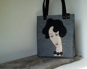 Felt bag, gray bag, woman's portrait, women bag, uncommon bag, handmade bag, bag with Lady, painted bag - agnieszkamalik