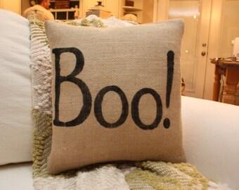 Burlap Pillow - Halloween Boo! Pillow