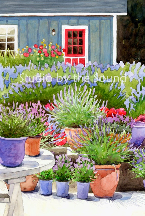 Pots of Lavender fine art print by Kathy Johnson depicting a lavender farm house with potted flowers in blue, purple, lavender, green, red