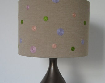 Spotty Lampshade - Pastel Coloured Embroidered Spots. Ceiling / Lamp Shade Suits UK / European Light Fittings
