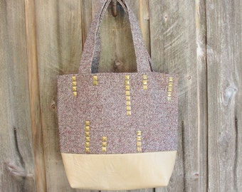 Blonde Leather Studded Handbag Tote Antiqued Brass Studs Brown Woven Heavy Weight Fabric 3 Pockets