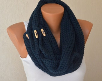 Scarf-Navy blue knit lace button infinity scarf-Winter cowl-Gift for her-Christmas gifts-Birthday gifts-Neck warmer