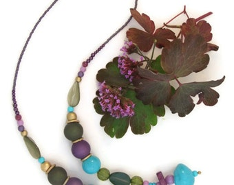 NECKLACE - purple,green,turquoise,gold - acrylic, glass - made in Ireland - Free Shipping Worldwide