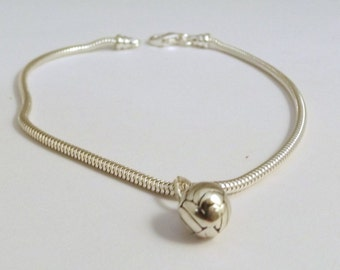 Sterling Silver Volleyball Charm on a Sterling Silver Slim European  Charm Bracelet  (1993/1429)