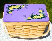 Small Wicker Basket With A Purple Lid With Hand Painted Yellow Flowers, Easter Decoration, Home Decor, Spring Decor, Gift Ideas