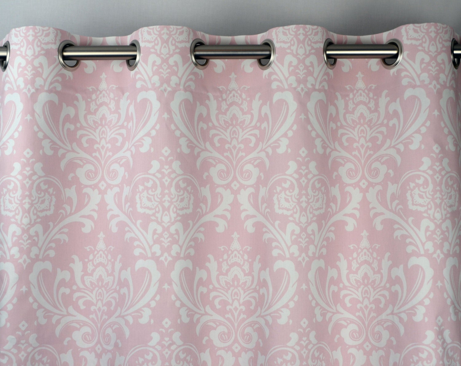 Bella Light Pale Pink White Osborne Damask Curtains Grommet