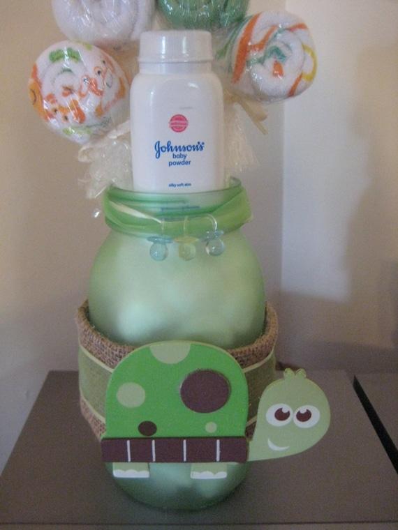 baby shower turtle mason jar safari centerpiece washcloth lollipop