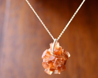 Aragonite Cluster Necklace Rough Mineral Crystal Necklace Raw Gemstone Jewelry Wire Wrapped Crystal Sterling Silver Orange Spiritual Jewelry
