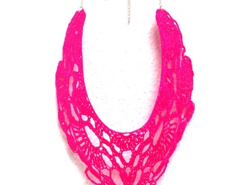 Maxi Crochet Necklace. Bright Neon Pink.