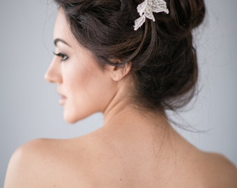 Lace Flower Bridal Hair Comb with Silver Beads