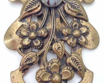 DECO 1930s Antique Brass Faux Turquoise Cab NOUVEAU Floral Repousse Dress Fur Clip..Patented by WALLER..Victorian Edwardian Downton Abbey