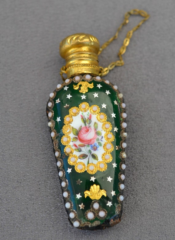VICTORIAN 1800s Sevres French Pink Rose Florals Green Glass Milk Bead & Gold CHATELAINE Scent Perfume Bottle..Brass Cap Chain Finger Ring
