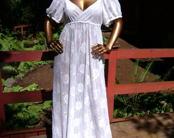 Bridal Nightgown Lingerie Gown in White Floral Mesh with Hand Embroidery