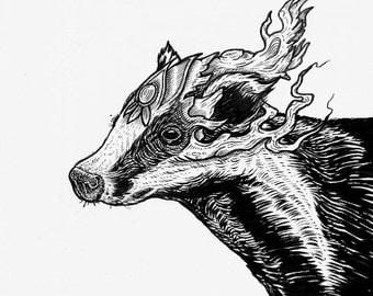 Original Ink Drawing: Badger