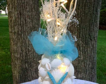 Turquoise Beach Centerpiece, Sea Shell Home Decor, House warming, Gifts for her