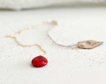Red Teardrop Necklace - Red Turquoise Teardrop Pendant Necklace Gift for Her Ruth Barzel