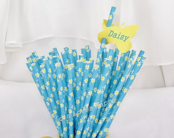 DAISY Blue 25 Paper Party Straws- Tea Party, Lemonade Stand, Bake Sale Cake Pop Sticks, Farm Party, Birthday, Wedding , Baby Showers, Girls