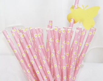 PINK DAISY 25 Paper Straws-  Cake PoP Sticks with diy Printable Flags Wedding , Showers, Tea Party , Princess