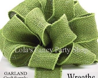 BURLAP Green WIRED Ribbon -2 yards , Rustic Barn Events, WREATHS, Garland, Floral and Packaging Supply, Gifts,Bow