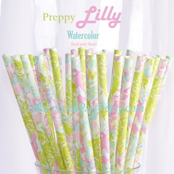 LILLY Preppy Watercolor Paper Straws-25  Cake PoP Sticks with diy Printable Flags Wedding , Showers, Tea Party , Princess
