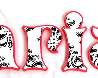 Hot Pink Trim Black Damask Painted Letters, Hot Pink Damask Nursery Letters, Damask Nursery Decor Newborn Photo Prop Letters Wedding Letters