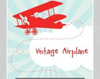Vintage Plane - RED Party Package - INSTANT DOWNLOAD