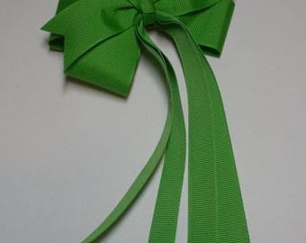 Apple Lime Green Hair Bow Summer Streamers Tails Basic Style Solid Grosgrain