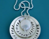 Sterling Silver Layer Disc Hand Stamped Personalized Necklace custom grandmother jewelry mother charm name handstamped engraved mom grandma