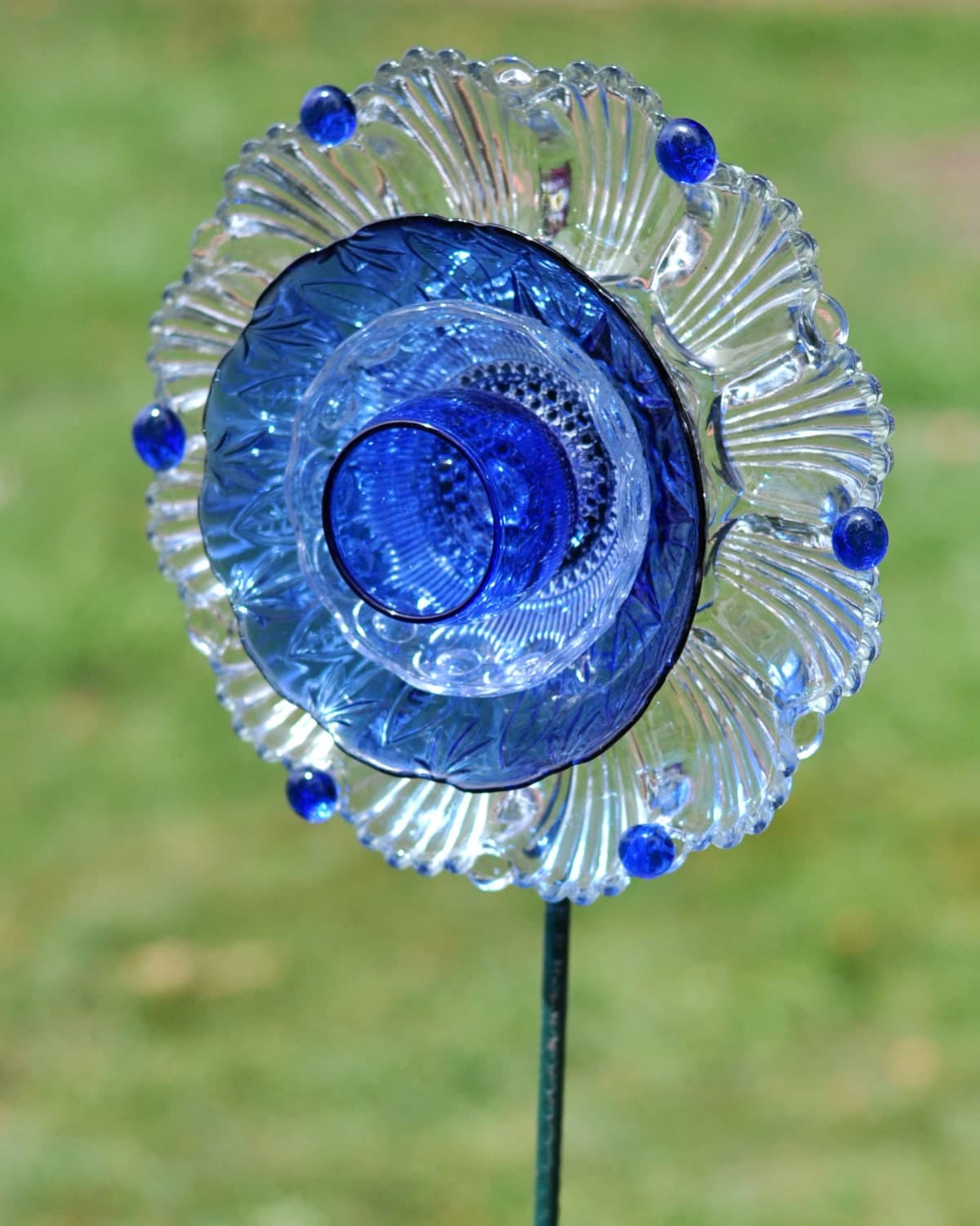 Repurposed Glass Garden Flower Wall Or Garden Art Made Of