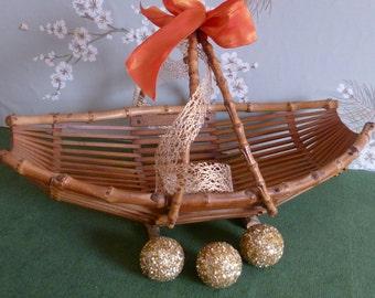 Vintage Natural Bamboo Ikebana Basket -  Holiday Centerpiece/Card Holder