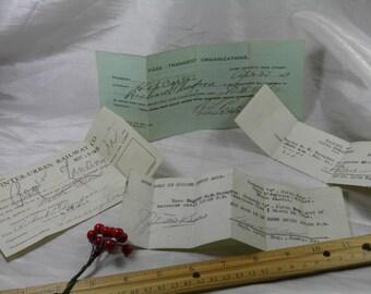 WWI Railroad Receipt, Camp Dodge, IA and Camp Merritt, NJ Passes  1919