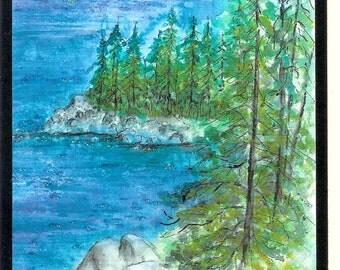 Lake Tahoe Rubicon Trail  California watercolor print card (Item LS7)