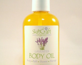Lavender Body Oil - Natural Lavender Moisturizer / Lavender Bath Oil / Massage Oil - w/ Organic Jojoba - Vegan - 4 oz