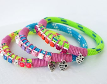 NEON green, yellow or pastel blue sailing rope bangle with bright painted rhinestones, waxed cord and little charm