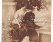 Vintage French card - blank - lady sitting in the garden - paris
