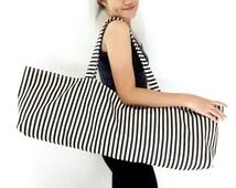 Handmade Yoga Mat Bag Striped Denim Yoga Bag Sports Bags Tote Yoga Sling bag Pilates Bag Pilates Mat Bag Canvas Yoga Bag Women bag