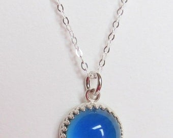 Mood Necklace Sterling Silver 925 - 12 mm - AAA Deluxe Mood Stone - color changing