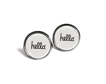 Hello Photo Glass Cab Circle Post Stud Earrings [B1083]