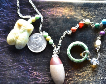 """Asian Summer"""" Shiva Lingham Pendulum with , and 2 chains and a big fat Cicada!"""
