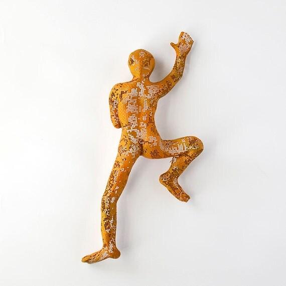 Metal sculpture - Climbing man sculpture - wire mesh sculpture - home décor - metal wall art - Orange