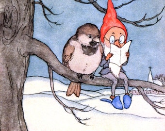 Gnome Christmas Fabric Block - Elf Reads with Bird - Ida Bohatta Morpurgo
