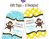 Mod Monkey Gift Tags - Blue Damask and Yellow Polka Dots, Boy Mod Monkey Personalized Birthday Party Gift Tags - A Digital Printable File