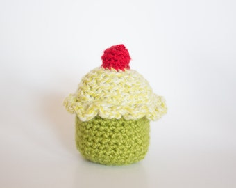 Crocheted Cupcake - Cute Lime Green with Cherry, Amigurumi Stuffed Food Cupcake - Perfect for Babies and Toddlers - Fun Stocking Stuffer